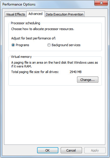 Change Virtual memory in win 7