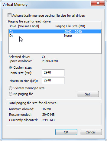custom virtual memory in win 7