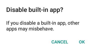 app disable confirmation in android