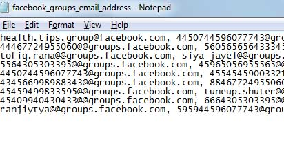 Emails in notepad
