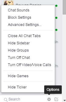 facebook chat options menu