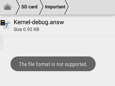 File not supported message