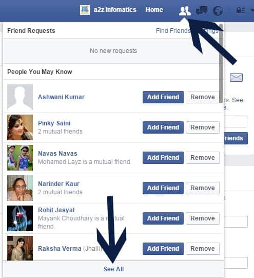 Howto delete facebook friends request