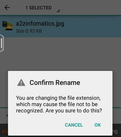 Rename File Confirmation in Android