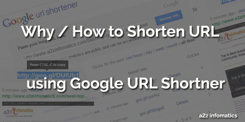 shorten url using google url shortener