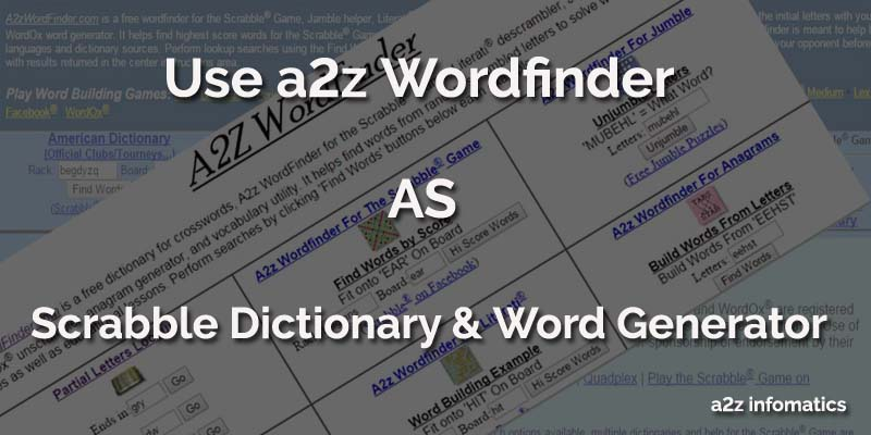 Using a2z WordFinder as Scrabble Dictionary