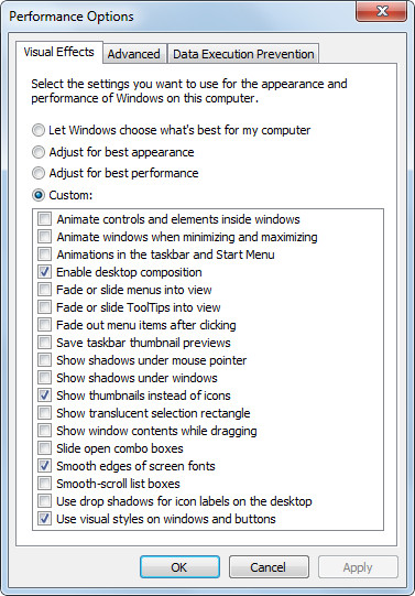 Visual effects in Windows 7