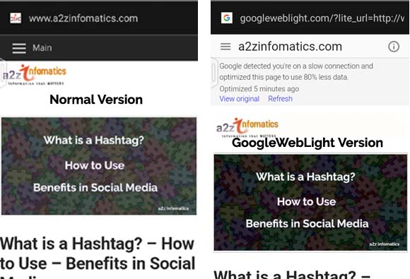comparison googleweblight