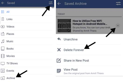 How to save facebook videos links posts for later view a2z facebook delete saved mobile app ccuart Choice Image