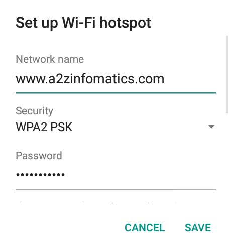 setup wifi hotspot settings