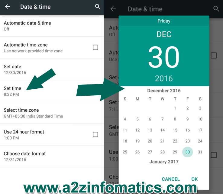 device date setting