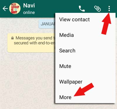 block whatsapp contact from chat window