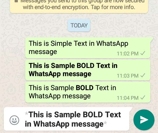 howto bold text in whatsapp message