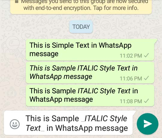 howto italic text in whatsapp message