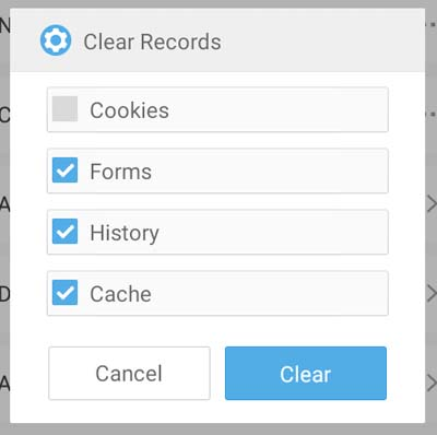 uc browser clear records popup