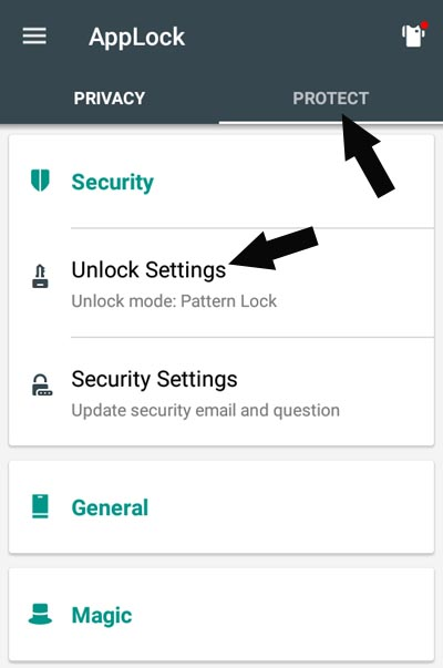 setting password pattern in applock