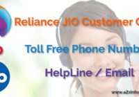 Reliance JIO Customer Care Toll Free Phone Number HelpLine Email