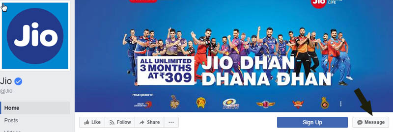 jio care facebook support