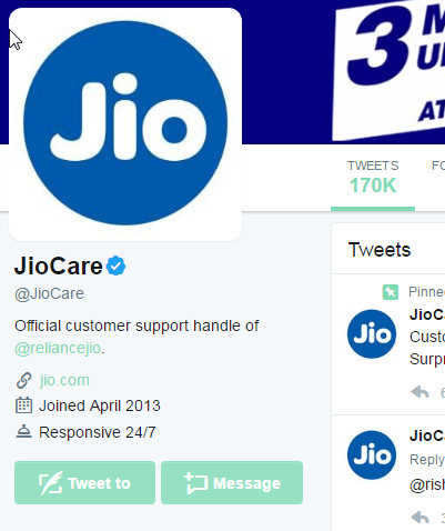 jio care tweet message