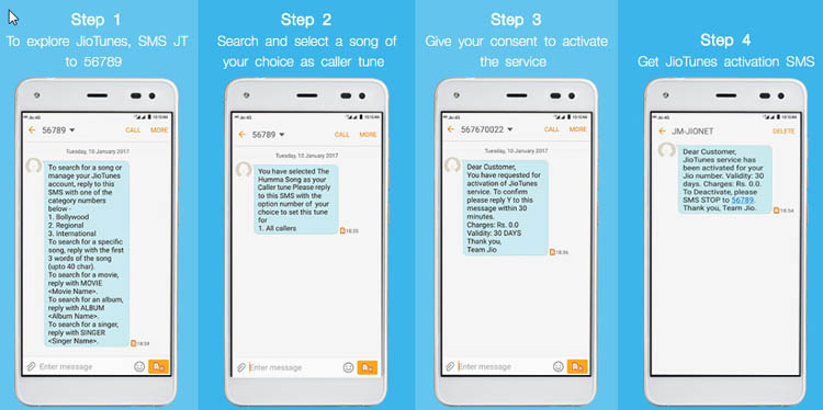 activate jio caller tune by sms
