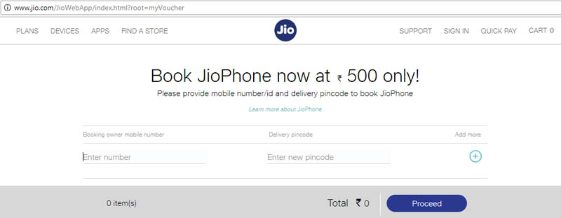 book jiophone rs 500