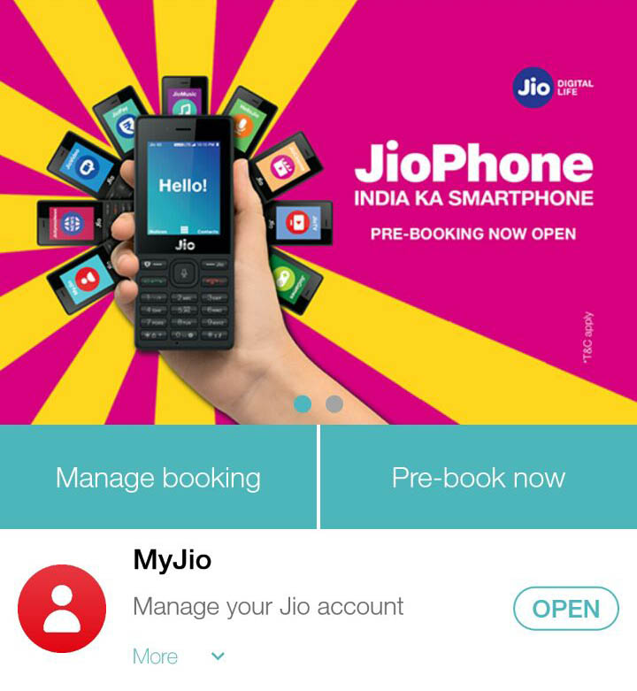 pre booking jiophone using myjio mobile app