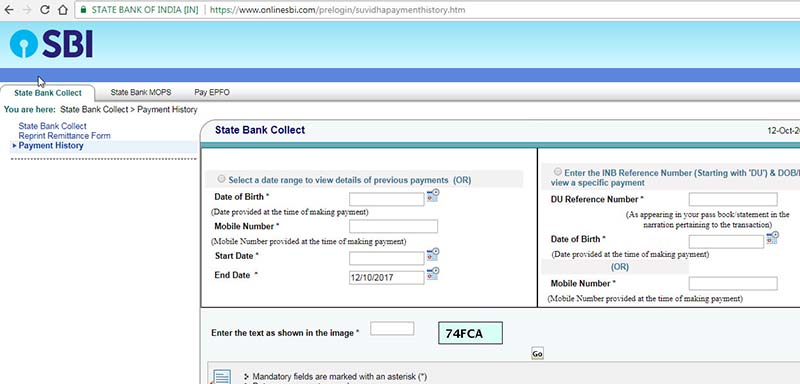state bank collect payment history inputs