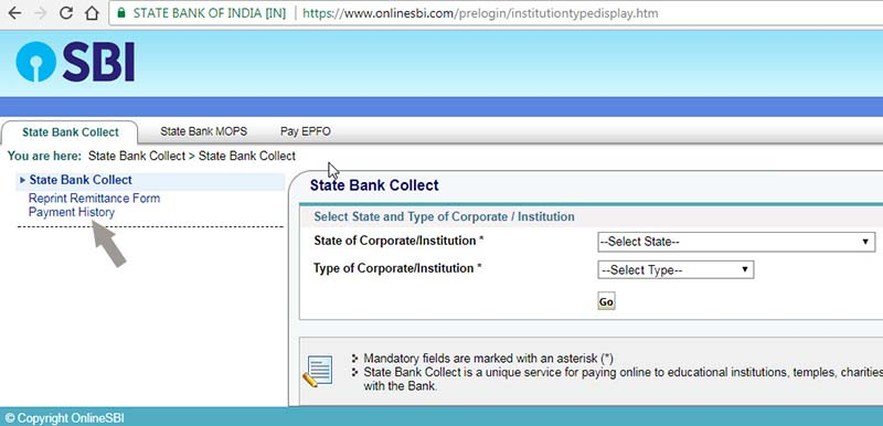 state bank collect payment page