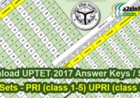 Download UPTET 15 October 2017 Answer Keys Sheet All Sets Paper 1 2